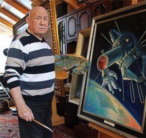 Алексей Леонов в мастерской
